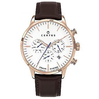 Assista Certus 611140 - Chronograph Bo tier Steel Dor Steel pink Leather Brown Leather Bracelet Men