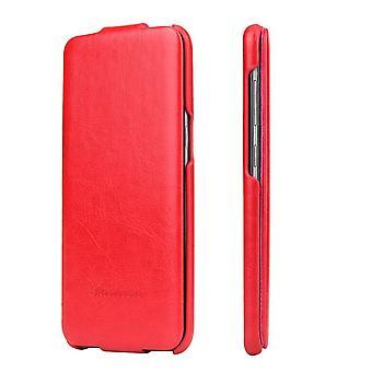Samsung Galaxy S9 tapauksessa, muoti tyylikäs pystysuora nahka läppä kansi, punainen