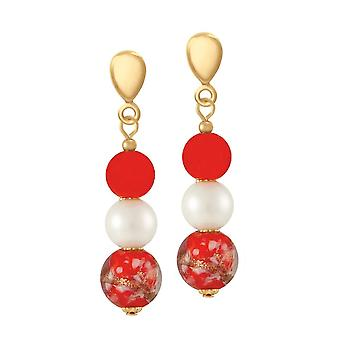 Eternal Collection Chiara Red Murano Glass Gold Tone Drop Screw Back Clip On Earrings