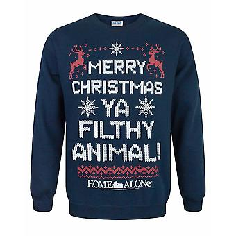 Home Alone -quot;Merry Christmas Ya Filthy Animal-quot; Men-apos;s Navy Christmas Jumper