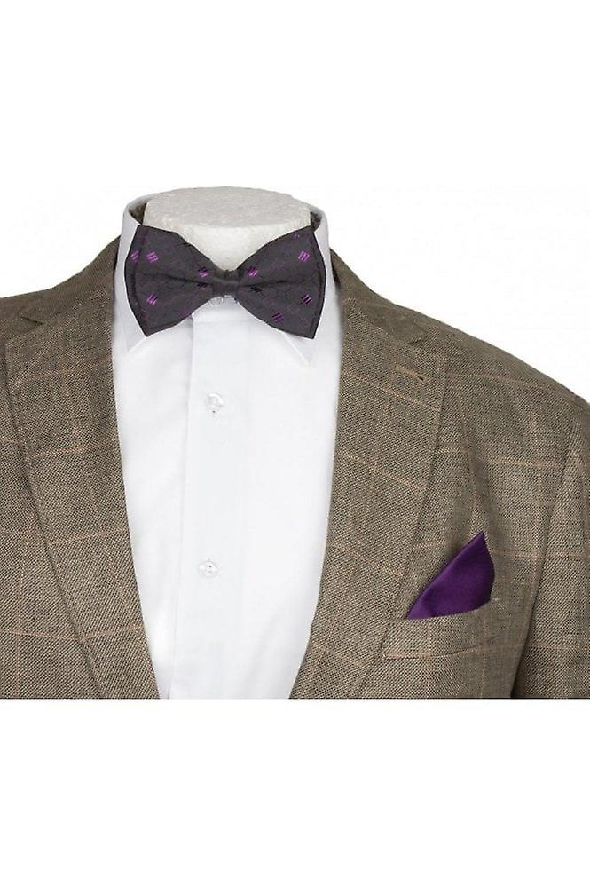 JSS Mens Purple Patterned Silky Satin Bow Tie And Handkerchief Set