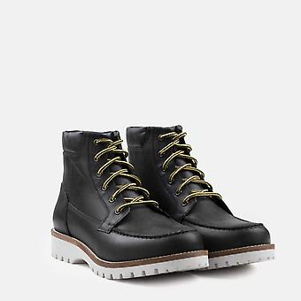 Chipp black leather moc toe boot