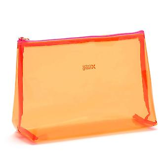 'victoria green' mia large makeup bag in clear orange
