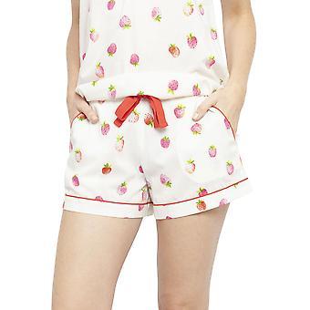 Cyberjammies 4453 Ženy & apos, s Sophia Krém Off Bílé jahodové tisk Bavlněné pyžamo Krátké