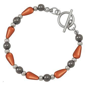 Eternal Collection Eureka Orange Lucite And Hematite Beaded Bracelet