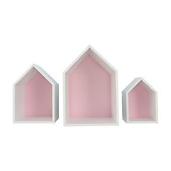 Prateleira da casa Elise, conjunto de 3, rosa