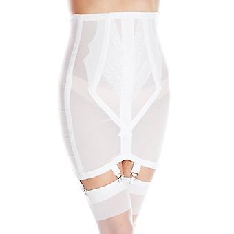 Rago Women's High Waist Open Bottom Girdle, White, Size Large (fits like US 30)