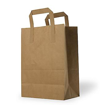 50 Paper Bags Brown 22 Cm X 28 Cm - With Flat Handles - Pack Of 50 For Gifts Food Retail