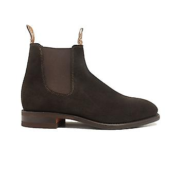RM Williams Craftsman Rubber Sole Chocolate Suede Leather Mens Pull On Chelsea Boots