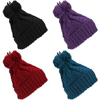 Womens Heavyweight Cable Knit Winter Hat With Pom Pom