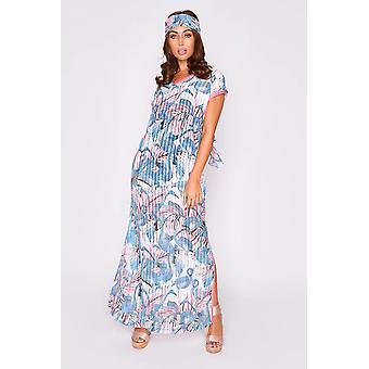 Kaftan kellycia short sleeve v-neck cover-up maxi dress in pink and blue print