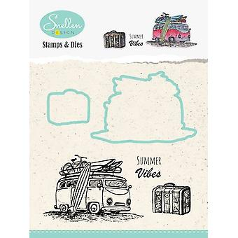 Nellie's Choice Holiday Die cut & clearstamp sæt bus HDCS002 70x47mm/28x23mm