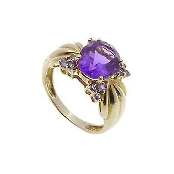 Used car yellow gold ring with amethyst