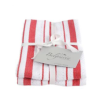 Stow Green Belgravia Basket Weave Tea Towels, Red