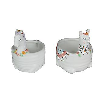 Set of 2 White Ceramic Unicorn / Llama Mini Planters Great for Succulents