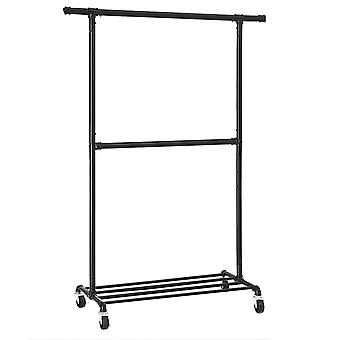 Black metal clothes rack with 2 rods