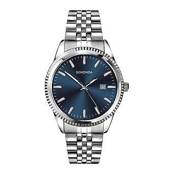 Sekonda Mens Ronde Blauwe Wijzerplaat Roestvrij stalen armband horloge 1640