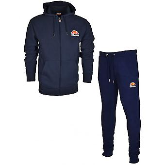 Ellesse Miletto Ovest Cotton Hooded Zip Navy Tracksuit