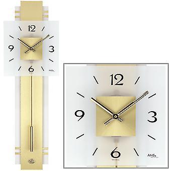 AMS 7301 Wall clock Quartz with pendulum golden pendulum clock with brass and glass