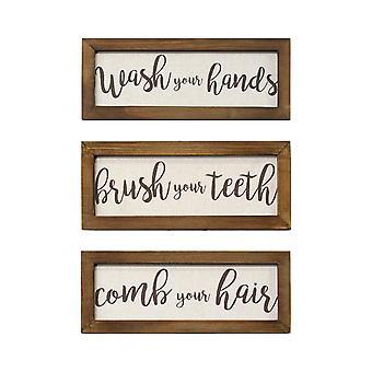 Set van 3 Linnen badkamer regels houten ingelijste muur kunst