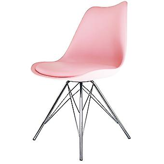 Fusion Living Eiffel Inspired Light Pink Plastic Dining Chair With Chrome Metal Legs