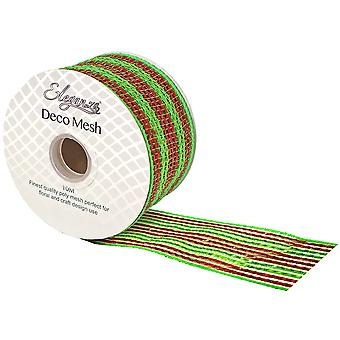 Christmas Stripe 6cm x 10m Deco Mesh Roll for Wreath Making, Floristry & Crafts