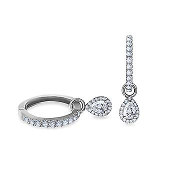 Earrings Hoops Pear 18K Gold and Diamonds - White Gold