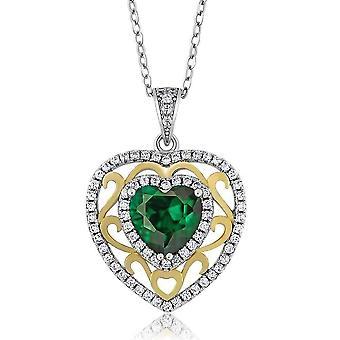 Romance green nano emerald heart iobi precious gems pendant necklace