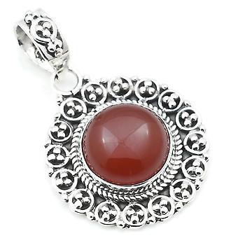 Ketju riipus Amulet Hopea 925 Sterling Hopea Carnelian Oranssi Punainen Kivi (No: MAH 104-16)