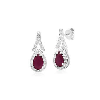 Teardrop Ruby & Diamond Drop korvakorut 9ct White Gold 162E0134029