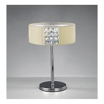 Round Evelyn Table Lamp With Cream Shade 2 Bulbs Polished Chrome / Crystal