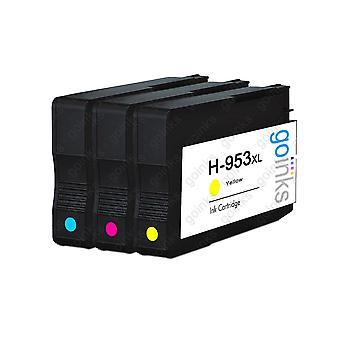 1 Go Musteet Yhteensopiva C / M / Y asetetaan korvaamaan HP 953 väritulostimen mustekasetit (3 mustetta) - syaani, magenta, keltainen yhteensopiva / ei-OEM HP Officejet tulostimet
