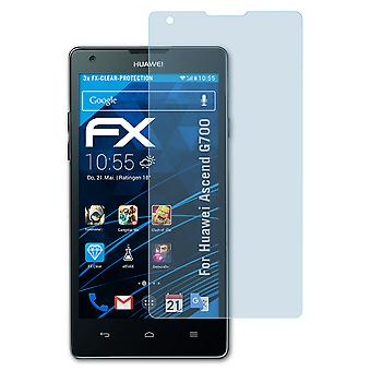 atFoliX Glass Protector compatible with Huawei Ascend G700 Glass Protective Film 9H Hybrid-Glass