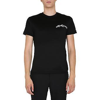 Alexander Mcqueen 624180qpx011000 Män's Black Cotton T-shirt