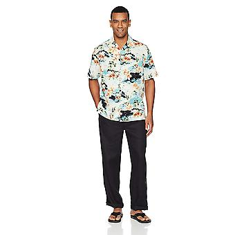 """28 Palms Men's Relaxed-Fit Linen Pant with Drawstring, Black, X-Large/30"""" Inseam"""
