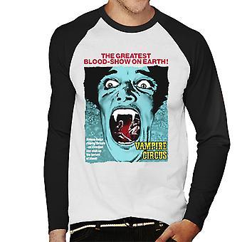 ハンマーホラー映画吸血鬼サーカスグレイテストブラッドショーメン&アポス;s野球ロングスリーブTシャツ