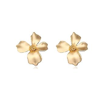 Χρυσά σκουλαρίκια δήλωσης σχεδίου λουλουδιών