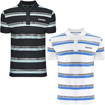 Lambretta Mens Stripe Kortärmad Casual Retro Polo Shirt T-Shirt Tee Top
