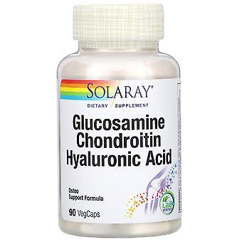 Solaray, Glucosamina Chondroitin ácido hialurónico, 90 VegCaps