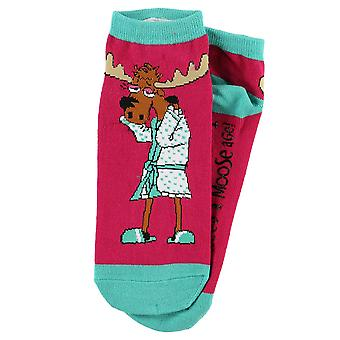 Lazy One Need a Moose-age SK924 Pink Unisex Slipper Socks