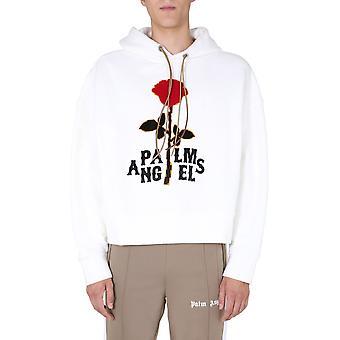 Palm Angels Pmbb058e20fle0080325 Homme-apos;s White Cotton Sweatshirt