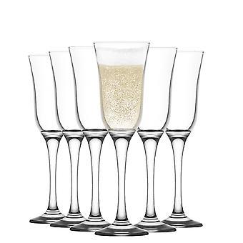 LAV Vals Champagne Flautas Set - Gafas de Flauta Vintage para Vino Espumoso - 190ml - Pack de 6