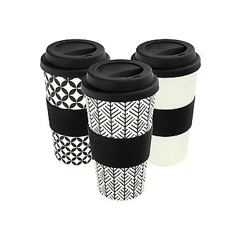 Reusable Coffee Cups - Bamboo Fibre Travel Mugs with Silicone Lid, Sleeve - 400ml (14oz) - Black - x 6