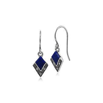 Art-Deco-Stil Lapis Lazuli Cabochon & Marcasite Diamant Form Ohrringe in 925 Sterling Silber 214E806902925