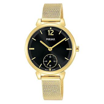 Pulsar Ladies Złota bransoletka siatkowa z czarnym zegarkiem 50M (nr modelu PN4076X1)
