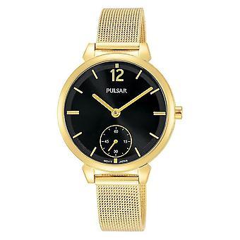 Pulsar Ladies Gold Mesh Bracelet With Black Dial 50M Watch (Model No. PN4076X1)