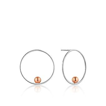 Ania Haie Rhodium Plated With Rose GoldOrbit Front Hoop EarringsE001-01T