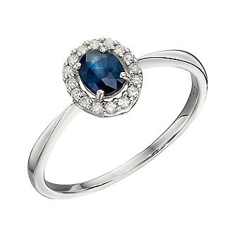 Elements Gold 9ct Cluster Sapphire White Gold Ring
