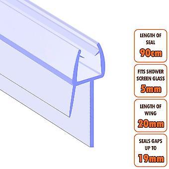 ECOSPA Bath Shower Screen Door Seal Strip - for 4-6mm Glass - Seals Gaps to 19mm