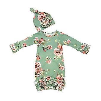 Newborn Baby Girl Sleepwear Dress Print Floral Long Sleeve Swaddle Wrap Blanket Sleeping Bag +hat (6m)